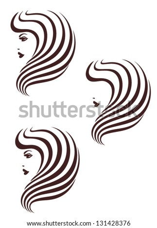 Hair stile icon, logo Female profile with long hair - stock vector