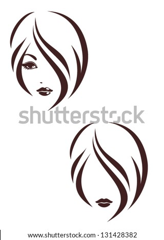 Hair stile icon, logo girl's face - stock vector