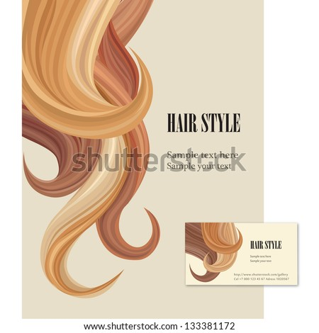 Hair style. Vector set poster and visit card. - stock vector