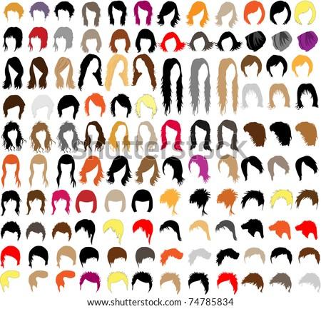 hair styles - stock vector