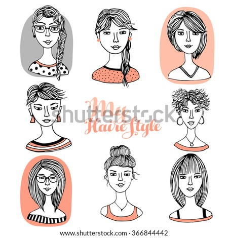 Hair styles collection vector, vector illustration of collection of female hair style  - stock vector
