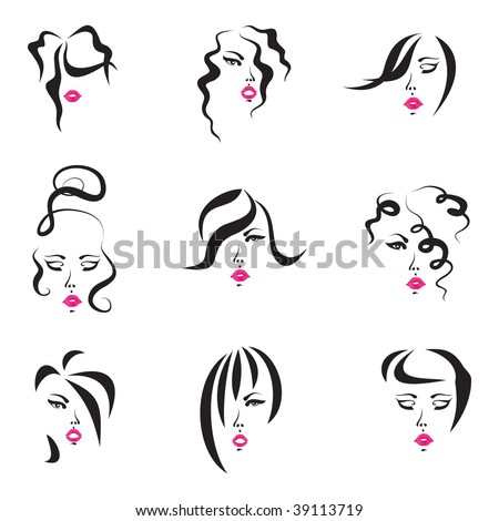 Hair Styles Set - drawings of nine women who have different hairstyles. - stock vector