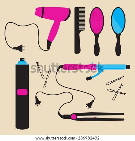 Hair styling tools. Flat icons. Hairbrush, comb, hairdryer, hair curler , hair straightener, hairspray, mirror, hairpins - stock vector