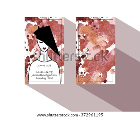 Hair stylist business card template vector stock photo photo hair stylist business card template vector with watercolor wajeb Image collections