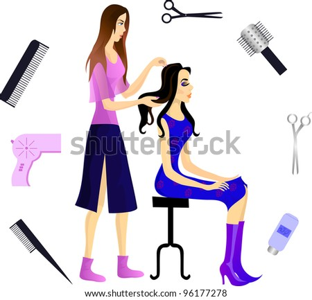 Hairdresser and her client, and various beautician accessories. Eps 10 - stock vector