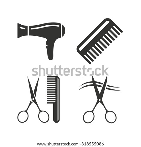 Hairdresser icons. Scissors cut hair symbol. Comb hair with hairdryer sign. Flat icons on white. Vector - stock vector