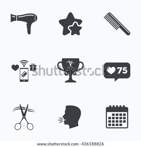 Hairdresser icons. Scissors cut hair symbol. Comb hair with hairdryer symbol. Barbershop winner award cup. Flat talking head, calendar icons. Stars, like counter icons. Vector - stock vector