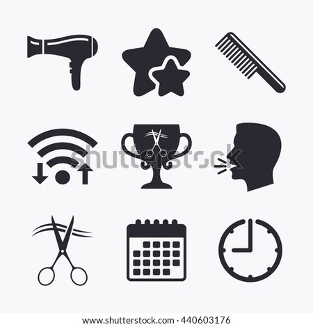 Hairdresser icons. Scissors cut hair symbol. Comb hair with hairdryer symbol. Barbershop winner award cup. Wifi internet, favorite stars, calendar and clock. Talking head. Vector - stock vector