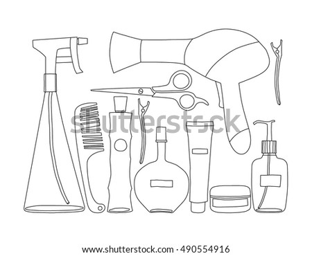 Hairdresser items. vector illustration.
