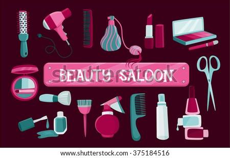 Hairdresser set, beauty saloon,vector illustration - stock vector