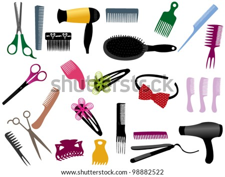 Hairdressing elements - stock vector