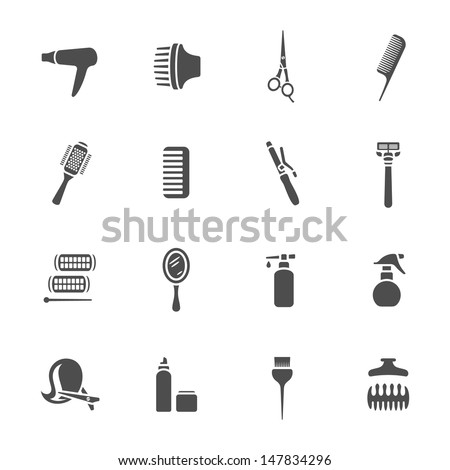 Hairdressing equipment icons - stock vector
