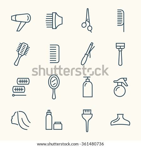 Hairdressing line icon set - stock vector