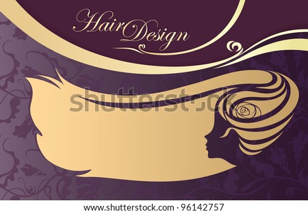hairdressing salon business card. woman's profile. - stock vector