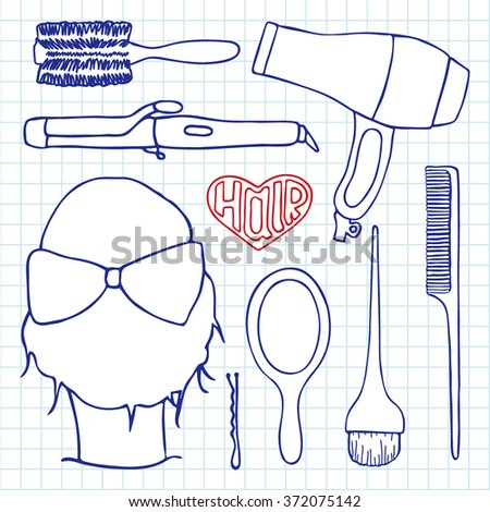 Hairdressing tools set. Hand-drawn cartoon collection of hair styling stuff -  comb, hairbrush, hairpin, mirror, dryer, mirror, head. Doodle pen drawing on the notebook page. Vector illustration