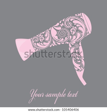 Hairdryer made from leaf pattern. - stock vector