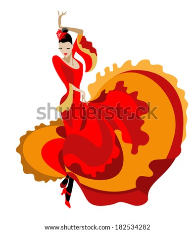 Haired flamenco dancer in a bright dress - stock vector