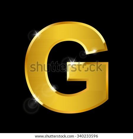 hairline gold alphabet on black ,G - stock vector