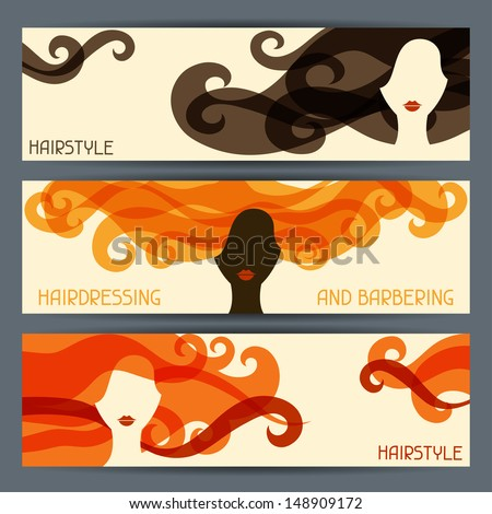Hairstyle horizontal banners. - stock vector