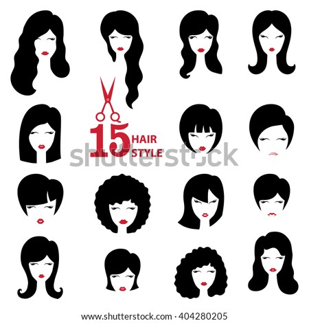 hairstyle silhouette setwomangirlfemale facehairbeauty