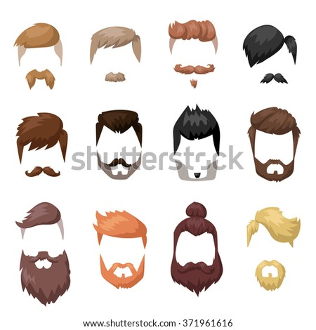 Hairstyles beard and hair face cut mask flat cartoon collection. Vector male hairstyles  beard hair illustration. Flat hairstyles and beards fashion style hair. Hairstyles icons, Hairstyles isolated - stock vector