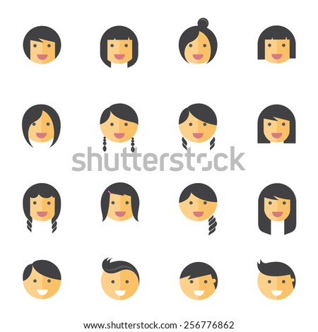 hairstyles emotions flat icons  - stock vector