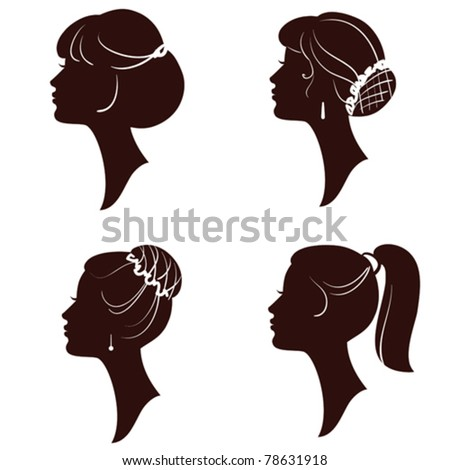 Hairstyles,vector beautiful women and girl silhouettes - stock vector