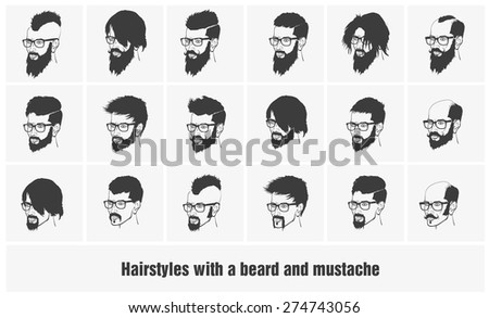 hairstyles with a beard and mustache wearing glasses full face - stock vector