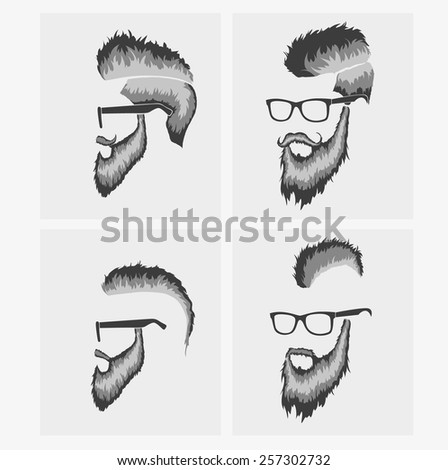 hairstyles with a beard in the face, full face - stock vector