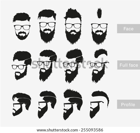 hairstyles with a beard in the face, full face and profile - stock vector