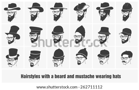 hairstyles with beard and mustache wearing glasses wearing hats - stock vector