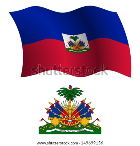 haiti wavy flag and coat of arms against white background, vector art illustration, image contains transparency - stock vector