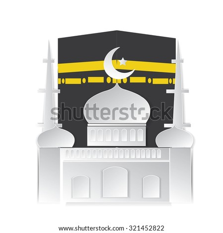 Hajj Kaaba and Mosque Eid Mubarak islamic for banner - stock vector