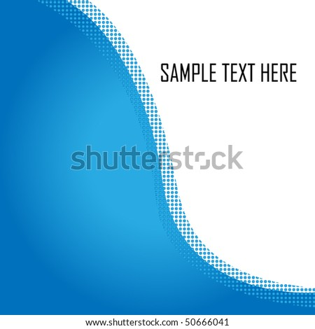 Half blue/half white background separated by a wave of dots. Lots of copy space available - Vector