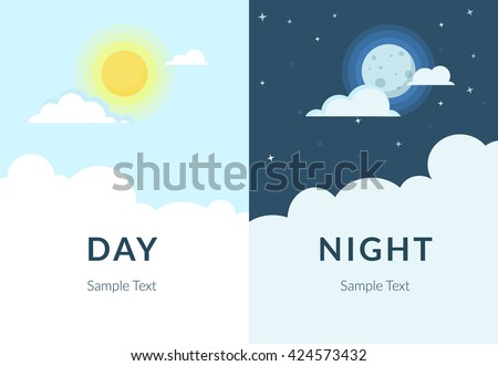 Half day and night, sun and moon with clouds. Flat illustration of sky and weather broadcasting, cloud and life, period and cycle for banners of mobile app backgrounds - stock vector