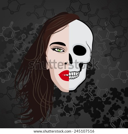 half face human skull - stock vector