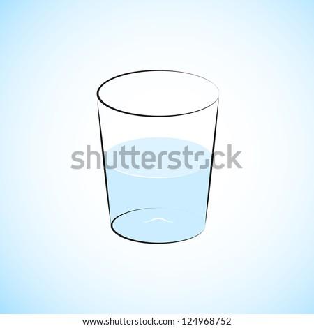 Half Filled Water Glass Illustration - stock vector