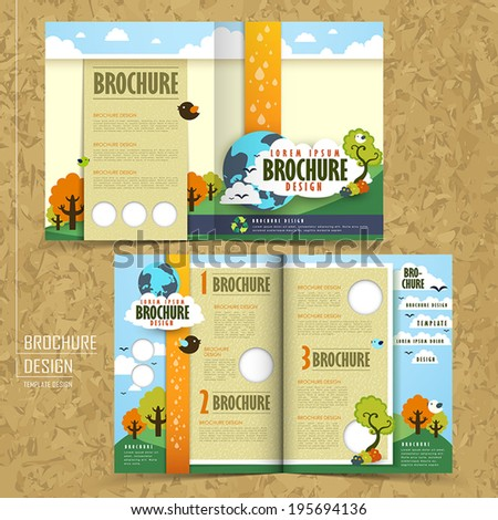 half fold template of brochure design with the concept of environmental - stock vector