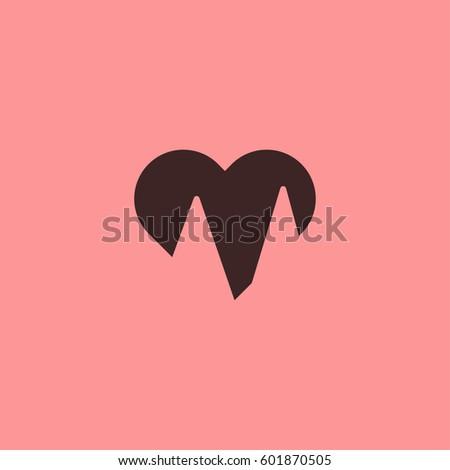 Half Heart Icon Stock Vector 601870505 Shutterstock