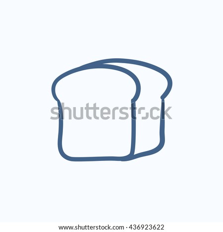 Half of bread vector sketch icon isolated on background. Hand drawn Half of bread icon. Half of bread sketch icon for infographic, website or app. - stock vector