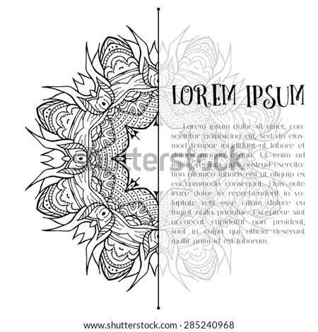 half mandala place text doodle presentation stock vector 285240968, Presentation templates