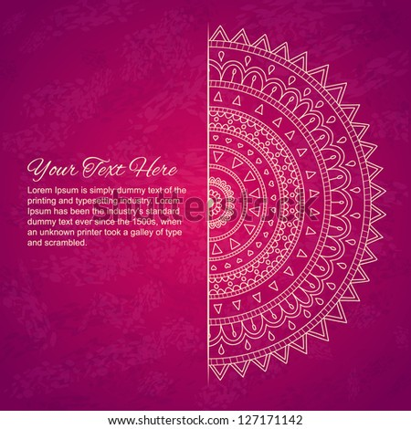 Half of mandala with text on pink background. Vector image. - stock vector