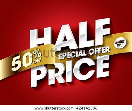 Half Price Sale concept with label banner. sale layout design. Vector illustration.   - stock vector