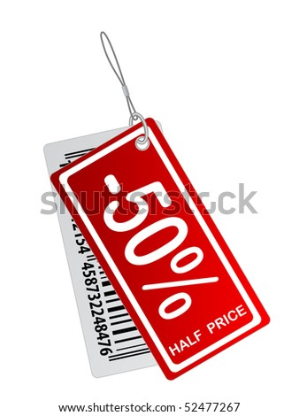 half price sticker - stock vector