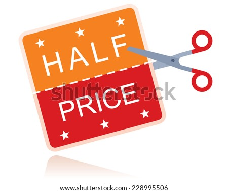 half price sticker with scissors - stock vector