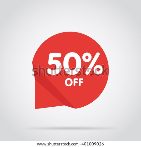 Half price tag. Special offer tag. Advertisement symbol. Isolated sale tag. Off tag. 50% off. Decoration element. Promo tag. Tag vector. Special offer banner. Web banner. Flat tag. Modern style tag. - stock vector