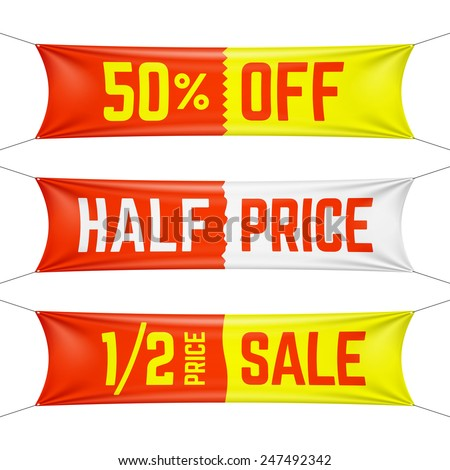 Half price textile banners. Vector. - stock vector
