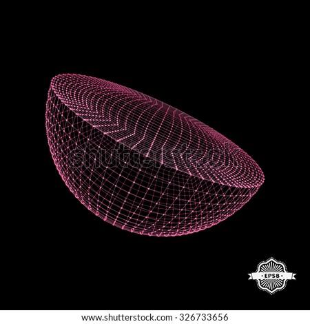 Half-sphere. Molecular lattice. Connection structure. 3d Vector Illustration. - stock vector