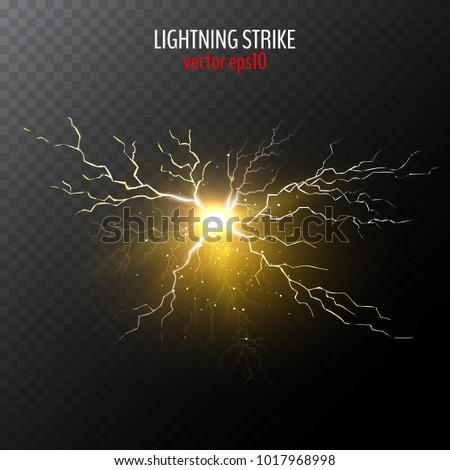 Half Transparent Lightning Bolt On Dark Background Thunderbolt With Cloud Vector Illustration For
