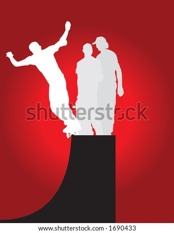 Halfpipe skate session vector silhouettes.  One skater is 50-50 grinding the coping of the half-pipe. - stock vector